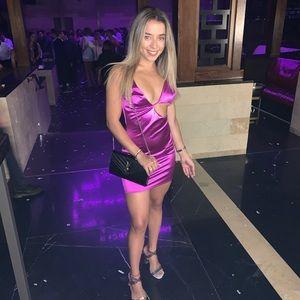 Purple silk mini dress